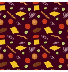 Hamburger seamless pattern burgers and ingredients vector