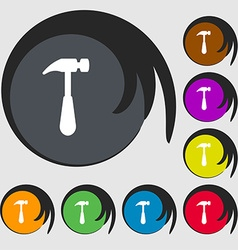Hammer icon sign Symbols on eight colored buttons vector image