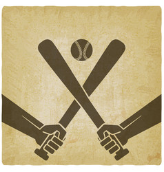 hands with baseball bats and ball vector image vector image