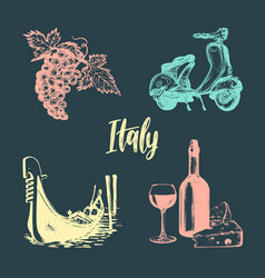 italian set of sketches hand drawn vector image