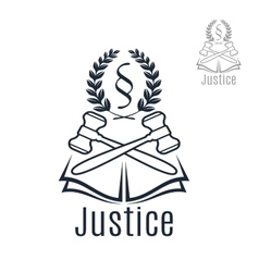 Justice legal emblem of gavel wreath book vector image