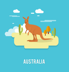 kangaroo native australian animal on desert in vector image