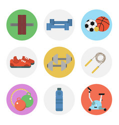 Nine color flat icon set - fitness vector