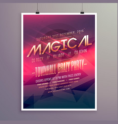 Party flyer invitation template with purple color vector