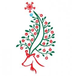 reindeer Christmas tree vector image