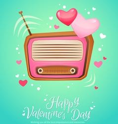 Romantic retro love radio with antenna vector image vector image