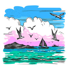 sea landscape with yachts vector image vector image