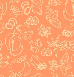Seamless pattern with spices and berries vector image