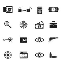 Secret Agent Accessories Icons vector image vector image