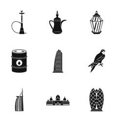 Uae icons set simple style vector