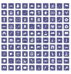 100 map icons set grunge sapphire vector