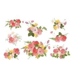 Floral background poppy and cosmos strawberries vector