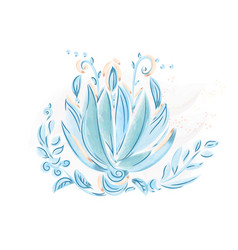 Watercolor blue leaves and flowers vector