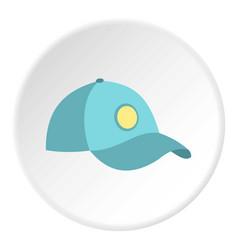 blue baseball cap icon circle vector image
