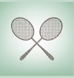 Two tennis racket sign  brown flax icon on vector