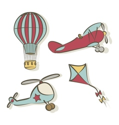 Set of flying icons vector