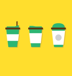 Flat Design A Set Of Hot Coffee Paper Cup vector image