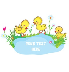 Banner with ducks pond and flowers - for vector