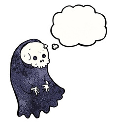 Cartoon spooky ghoul with thought bubble vector