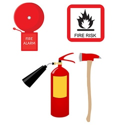 Fire extinguisher alarm bell fire risk sign and vector