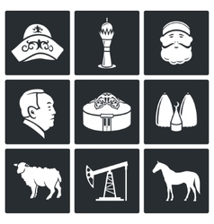 Kazakh culture icons set vector