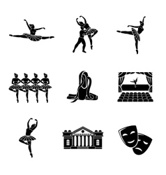 Set of ballet monochrome icons with - ballet vector