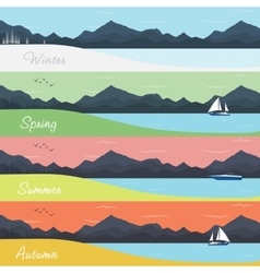 Four seasons banners with forest and mountains vector
