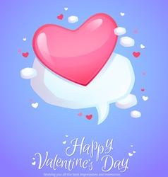 Romantic comic speech bubble with pink heart vector