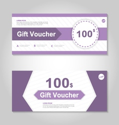 Cute purple gift voucher template layout set vector image