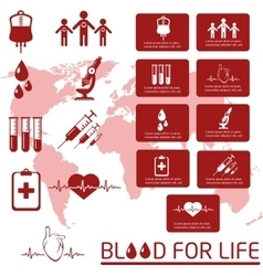 Blood donor icon set vector