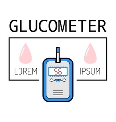 Glucometer test strip label flat icon medical vector