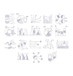 Different type of hand drawn charts set vector
