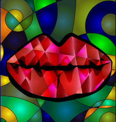 Abstract colored red lips vector
