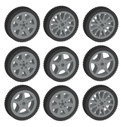 automotive wheel with alloy wheels vector image