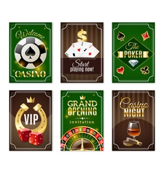 Casino cards mini posters banners set vector