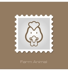 Chicken stamp Animal head vector image