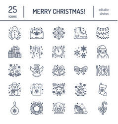 christmas new year flat line icons winter vector image vector image