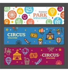 Circus Amusement Park Banner Card Tickets vector image