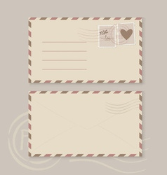 Collection of love envelopes with postage stamps vector