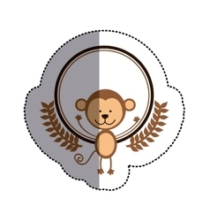 Color sticker circle with monkey and olive branchs vector