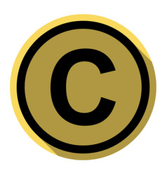Copyright sign flat black vector