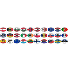 flags of the country of the eu oval sticke vector image vector image