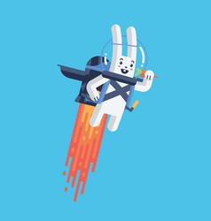 Flying rocket jetpack rabbit launching in sky vector