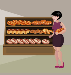 Girl buying bread cartoon vector