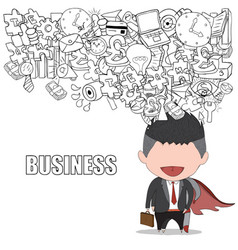 happy face businessman on business doodles vector image vector image