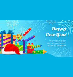 happy new year 2017 set of fireworks gift boxes vector image vector image