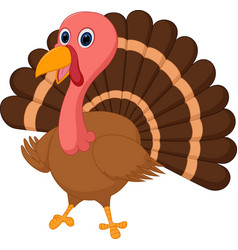 happy turkey cartoon vector image