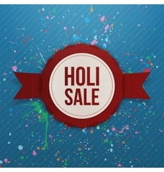 Holi Sale red round Banner with Ribbon vector image