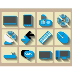 Icons home tech and wireless set vector