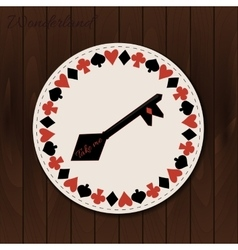 Key- drink coaster from wonderland on wooden vector